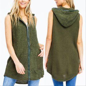 Sweaters - HUNTER GREEN SWEATER HOODIE VEST